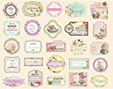 Woodmin Ephemera Pack Vintage Scrapbook Supplies Stickers Die-Cut Paper Pack Note and Tag Die cuts (25 Pieces, Assorted Colors SD016)