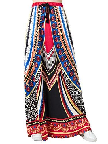 Choies Women's African Print Long Maxi Skirt w Drawstring (Drawstring Print Skirt)