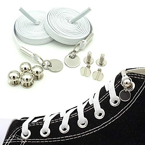 ERCRYSTO No Tie Shoelaces, Elastic Flat Laces with Metal Tips, Innovative & Fashion Design, Easy to Use, Time-Saving and Eliminate Loose Shoelace Accidents, Convenience for Kids and Adults. (White)