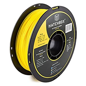 HATCHBOX PLA 3D Printer Filament, Dimensional Accuracy +/- 0.03 mm, 1 kg Spool, 1.75 mm, Yellow by HATCHBOX