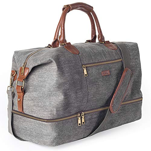 Large Weekender - MyMealivos Canvas Travel Tote Luggage Men's Weekender Duffle Bag with Shoe compartment (Dark Grey)