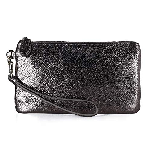 Befen Women's Leather Wristlet Clutch Wallet, Smartphone Wristlet Purse Signature Wallet (Gunmetal Gray) ()