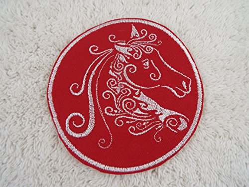 Red White Swirled Horse Silhouette Embroidery Iron-on Custom - Silhouette Embroidery