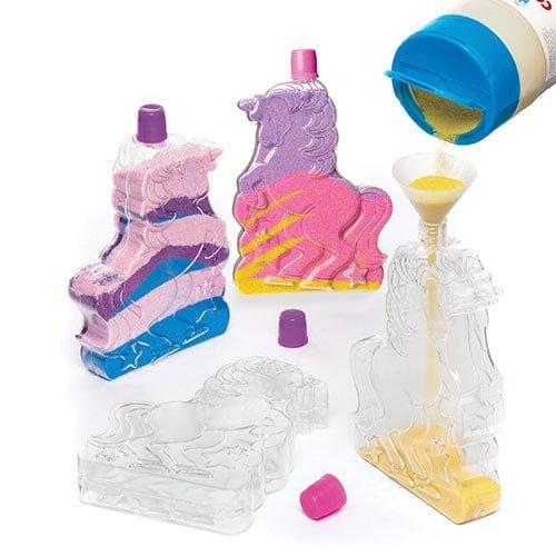 Baker Ross Unicorn Sand Art Bottles (Pack of 4) for Kids Crafting and Decorations