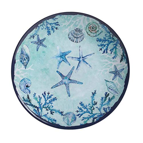 Northeast Home Goods Blue Starfish and Shells Melamine Round Serving Platter, 16-Inch Diameter