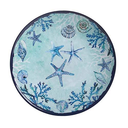 Northeast Home Goods Blue Starfish and Shells Melamine Round Serving Platter, 16-Inch Diameter
