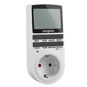 Jerrybox Temporizador Digital Programable, Enchufe Programador Diario / Semanal, Ahorrar Energía y Dinero