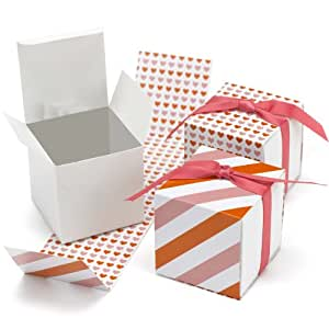 Hortense B. Hewitt Reversible Hearts Wrap Favor Boxes Wedding Accessories, Orange and Pink, Set of 25