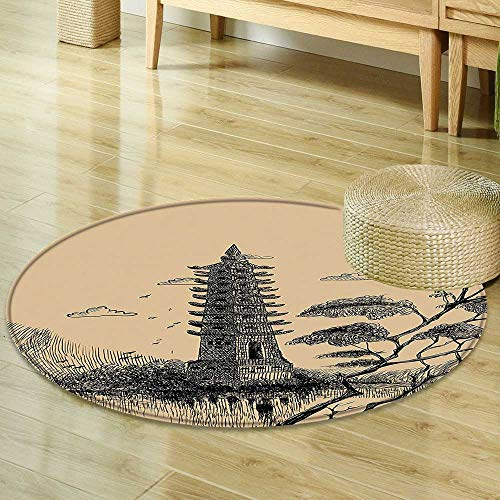 Mikihome Area Silky Smooth Rugs Asian Decor Old Stone Tiered Tower Vintage Style Taoist House of Faith Historical Illustration Pale Brown Black Home Decor Area Rug R-47