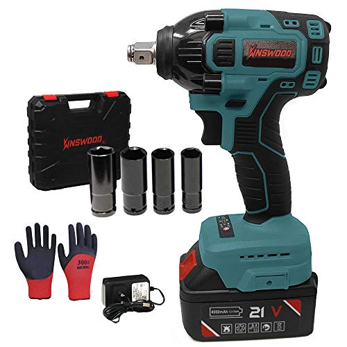 Kinswood Cordless Impact Wrench kit 21V with Drill Set 7 pcs Heavy Duty 310N.m