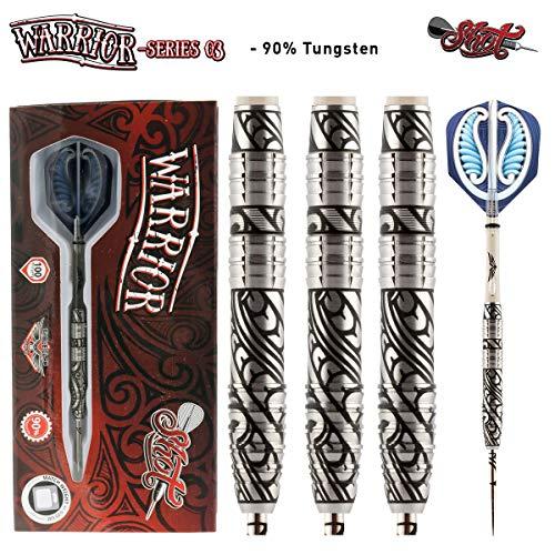 - Shot! Darts Warrior-Steel Tip Dart Set-3 Series Center Weighted-90% Tungsten Barrels (26)