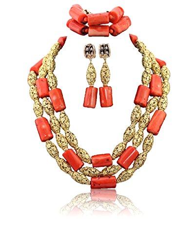 Perles de Corail avec du Nigeria Dubaï embelishment plaqué or de mariée mariage