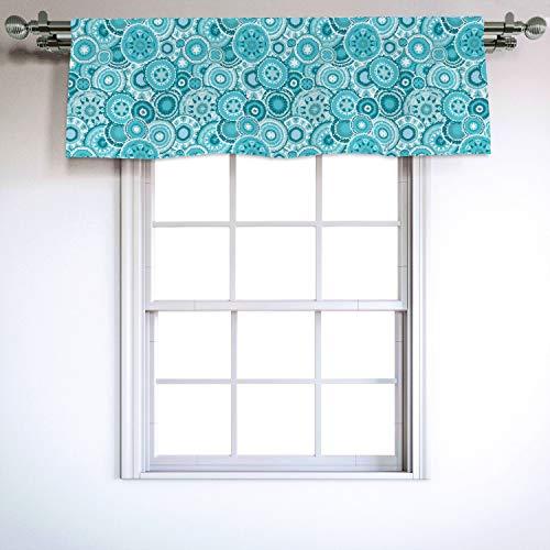 Ambesonne Aqua Window Valance, Hippie Floral Leaves