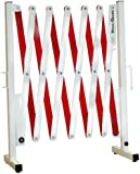 """Versa-Guard VG-4000 Aluminum/Steel Expandable Portable Safety Barricade with Stationary Feet, 37"""" Height, 17"""" to 136"""" Expanded Height, White/Red"""