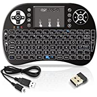 BPSMedia (Backlit version) i8+ 2.4GHz Wireless Mini Handheld Remote Keyboard with Touchpad Work for PC,Raspberry Pi 2, Android TV Box ,XBMC,Windows 7 8 10(US Layout) Rii Manufacturer: Rii