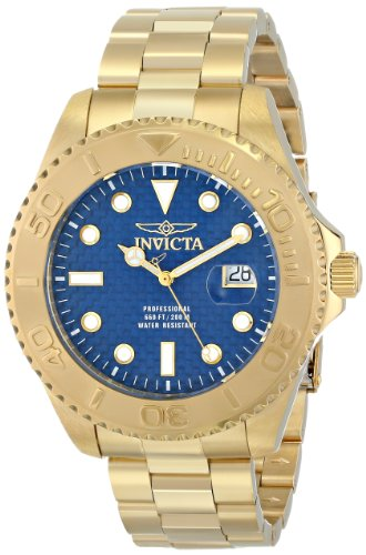 Invicta Men's 15193 Pro Diver Analog Display Swiss Quartz Gold-Plated Watch, - Swiss Gold Plated Watch