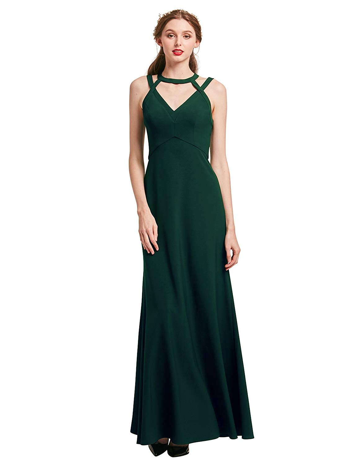 Dark Green Alicepub Sexy Halter Evening Gowns Women Formal Dresses Elegant Prom Dress Long