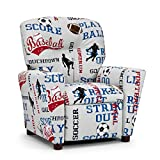 Childrens Recliner with Cup Holder – Baseball Football Soccer Juvenile Upholstered Chair – Kids Room Seating Decor 2 Fabric Choices – Sports or Vintage Airplanes – Gender Neutral for Boys And Girls Review
