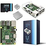 V-Kits Raspberry Pi 3 Model B+ (B Plus) Barebones Kit-With Preloaded SD Card-Clear Transparent Case and Set of 2 Heatsinks [LATEST MODEL 2018]
