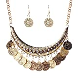 QIYUN.Z Tribal Jewelry Flat Round Dangle Coin Tassel Pendant Chain Necklace For Women