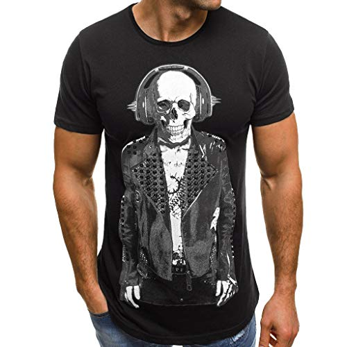 UOKNICE Tops for Mens, Summer Short Sleeve Casual Round Neck Fashion Printing Skull Pullovers Blouses Tees T-Shirts Stores Near me Fashion Casual Men's Sale Online Funny Cool Black -