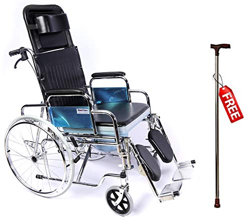 SMARTCARE Lightweight Durable Portable Wheelchair with Commode