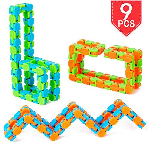 PROLOSO 9 Pcs Wacky Tracks Snap and Click Finger Fidget Toys Sensory Gadget Snake Puzzle