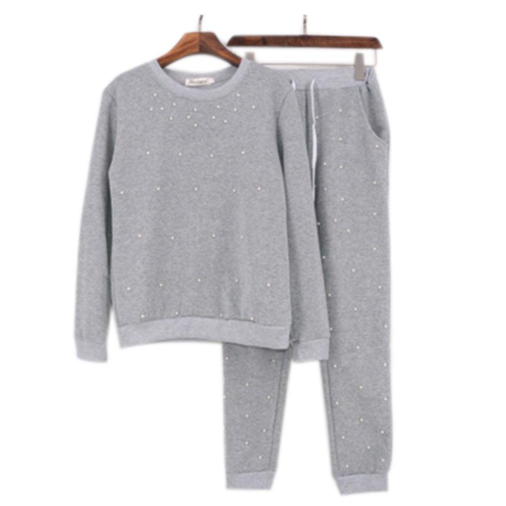 Discovery Women Pearl Tracksuit Set Long Sleeve Stripe Sweatshirt Hoodies+Pants Sports Suits 2PCS Full Tracksuit 2 Colours