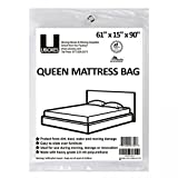 """UBOXES Moving Supplies Queen Size 90"""" x 15"""" x 61""""  Inches 2 MIL Heavy Duty Polyethylene Mattress Cover (QUEENCOVER01)"""