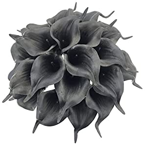 DALAMODA 20 pcs Calla Lily Bridal Wedding Bouquet Lataex Real Touch Artificial Flower Home Party Decor,Party/Wedding/Home/Business Decorate (Black #2) 32