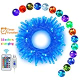 Ollny Christmas String Lights 33ft 16 Colors Changing 100 LEDs Indoor Fairy Lights USB Powered 4 Modes with Remote Control Timer Multi Color for Indoor Bedroom Wedding Party Patio Garden Wall De
