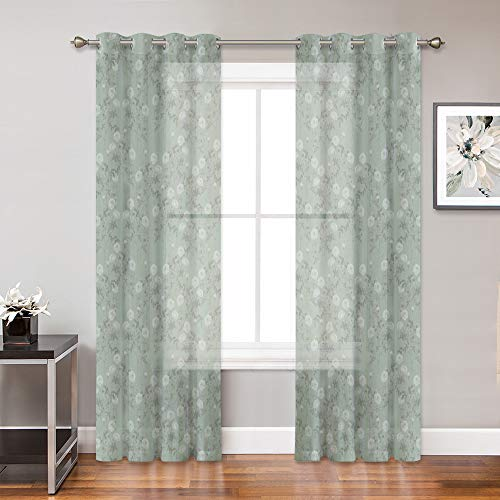 (KGORGE Rose Flowers Pattern Print Sheer Curtains, Faux Linen Texture Privacy Window Voile Panels, Filter Sun Glare Fresh Home Decor for Living Room/Bedroom, 52