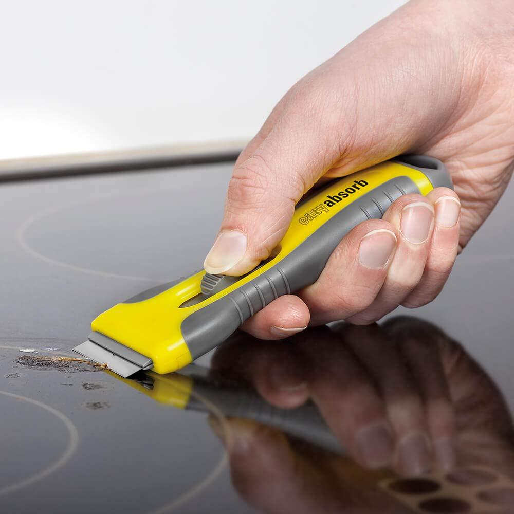 inklusive 5 rostfreien Edelstahlklingen gelb//grau easy absorb P-10014 Universalschaber Softgrip-Griff