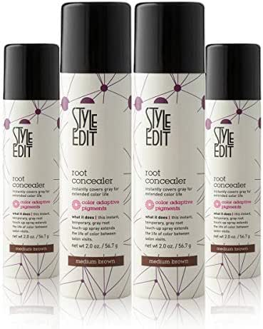 Style Edit Root Concealer Touch Up Spray (Multiple Colors Available) | Instantly Covers Grey Roots | Professional Salon Quality Cover Up Hair Products for Women | Dark Brown 2 Ounce PACK OF 4 PLUS 1 FREE (Total Of 5)