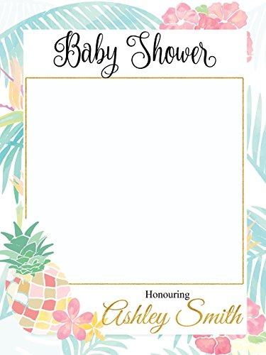 Aloha Baby Wall (Custom Pineapple baby shower Photo Booth Frame - Sizes 36x24, 48x36; Tropical Baby shower decorations, Luau, Aloha Baby Shower Photo Booth Props, Selfie frame)