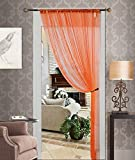 Orange Sheer Voile Window Curtain Panel Quality Sheer Curtains - 55X84