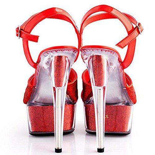 Grueso Zapatos Las Modelo Mujeres Pasarela 15cm Fondo Tacones De Red Altos Boda Impermeable Sandalias Plataforma Cristal La TqP6fPW8