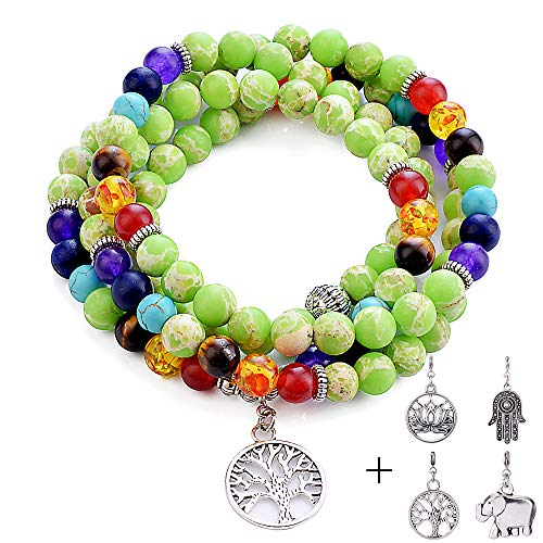 - Bracelet for Women Men Howlite - 8mm Healing Green Howlite 108 Mala Chakra Anxiety Bead Bracelet Tree of Life 7 Chakras Bracelets Necklace for Women Men Wedding GIfts Bridal Gifts Retirement Gifts