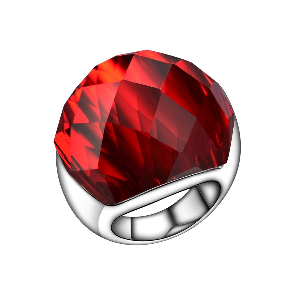 Sterling Silver Created Red Ruby with White CZ Helo Jacket Princess Diana Kate Middleton Engagement Ring
