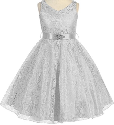 Designs Satin Flower Girl Dress - Big Girls' Lace Floral Pattern Satin Sash Flower Girl Dress Silver 8 (G35G11)
