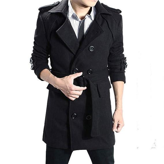 BaZhaHei-Chaqueta de Hombre Chaqueta de Hombre cálido Invierno Trinchera Largo Outwear botón Elegante Abrigo