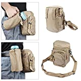 xhorizon ® 3-Zipper Pockets Waterfroof Sports Bag Multifunctional Water Resistant Waist Fanny Pack Hip Belt Bag Pocket Neck Shoulder Pouch with Extra Water Bottle Holder Pouch(Bottle Not Included) for Hiking Cycling Climbing Camping Travel ZA5 – Khaki