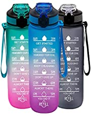YORKZONE 32oz Motivational Water Bottle with Time Markings Hydration Tracking Reminder for Sports Fitness - Drink Bottle With Straw, Leak Proof, Light-Weight BPA Free USA Tritan Material