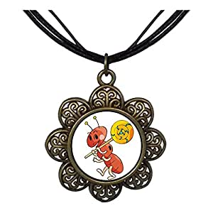 Chicforest Bronze Retro Style Happy Lovely Ant Sun Flower Pendant