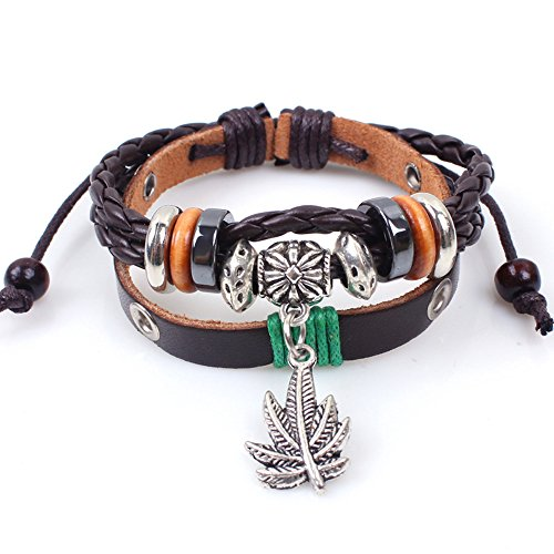 Hand Braided Multi-layer Vintage Maple Leaf Pendant Alloy Wood Beaded Brown Adjustable Leather Wristband