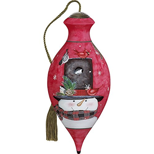 Precious Moments, Ne'Qwa Art 7171153 Hand Painted Blown Glass Standard Brilliand Shaped Home Is Where You Hang Your Hat Smiling Snowman Ornament, 6.5-inches - Top Hat Blown Glass Ornament
