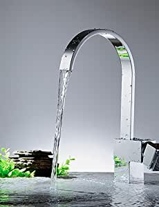 NIUBIDE Kitchen faucet-Contemporary-Waterfall-Brass(Nickel Polished) LIHAIQP