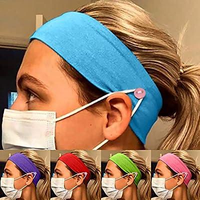 Button Headband for Nurses Women Men, Ulanda 1/5PCS Yoga Sports Workout Running Soft Elastic Stretch Headbands for Doctors: Clothing