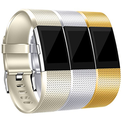Maledan Bands Replacement Compatible with Fitbit Charge 2, 3-Pack, Champagne/Silver/Gold, Small