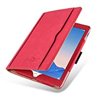 iPad Mini 4, 3, 2, and 1st Generation Case, JAMMYLIZARD The Original Black & Tan Leather Smart Cover, with Pencil Holder & Stylus